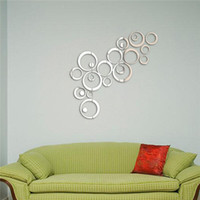 Compra Specchio A Parete Art-Circles Wall Stickers stile specchio autoadesivo smontabile della parete del vinile della decalcomania di arte murale casa 24pcs Decal rimovibile arte murale Wall Sticker Home Decor