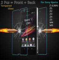 Wholesale Xperia Z1 Glass Back - 2PCS = Front + Back Screen Protector Film Premium Tempered Glass for Sony Xperia Z M4 M5 Aqua Z1 Z4 Z5 Z2 Z4 Z3 Compact Case