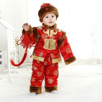 Wholesale Chinese Tang Suit Style Child - Traditional Cotton Padded Jacket Children Tang Suits Winter Thick New Year Clothing+Caps for 0-3 Years Kids Baby Birthday Gifts