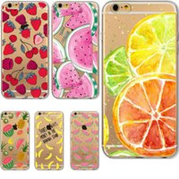 Wholesale Iphone 4s Watermelon Cases - Friunt Printed Case For iPhone 7 PUS 6 6s Plus 5s 5c 4s Ultra thin Soft Clear TPU Banana Watermelon Lemon Unique Styles
