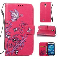 Wholesale Galaxy S4 Flip Retail - Hot sale Wholesale and Retail Fashion Colorful Butterfly Flowers Flip Leather Wallet Case For samsung galaxy S4 I9500