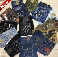 Wholesale Rock Jeans 32 - Fashion Mens Robin Rock Revival Jeans Street Style Boy Jeans Denim Pants Designer Trousers Men's Size 32-42 New true jeans