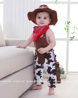Wholesale One Piece Baby Bibs - Baby Boys Rompers west cowboy Summer One Piece Jumpsuits +Cap+bib Three Piece Clothing Sets Toddler Clothes E13172