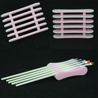 держатели для переноски для дисплея оптовых-Розовый УФ-гель кисть держатель пера Nail Art мода DIY инструменты, необходимые макияж акриловый дисплей стенд пластиковые инструменты