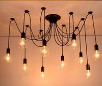 Wholesale Loft Large - Modern large spider industrial black vintage lamp pendant loft led 14 lights E27 AC 110 V   220 V for lounge bar
