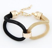 Wholesale gold black metal bangle - New Fashion Charm Bracelets Gold Silver Plated Woman Bracelets 3 colors Statement Charm Chains Bracelet Jewelry Metal Chain Bangles Jewellry