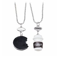Pendant Necklaces black and white cookies - Kawaii Cookie and Coffee Best Friend Necklace Miniature Food Necklace Round Resin Necklace Alloy Chain for Kids or Friends