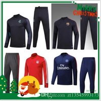 Wholesale Zentai Cheap - 2017-2018 MEN Azulgrana Tranning outfits Tracksuits Jacket Pants Messi INIESTA PIQUE Wholesale Cheap jersey hot 2017 COMING rugby