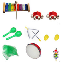 Wholesale 11 Piece Musical Instrument Set for kids Colorful Fun Baby Kids Wooden Preschool education Toy Percussion instruments dram Scarf bell