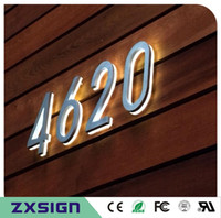 Wholesale Led House Number Lights - Factory Outlet Outdoor 304# stainless steel back lit led house number, illuminated stainless steel home number, light up doorplate