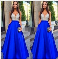 Wholesale Vintage Green Bead Necklace - 2017 New Sexy V-Neck Prom Dresses A-Line Beads Backless Zipper Evening Dresses Real Pic Custom Made Guest Dresses With Free Necklace