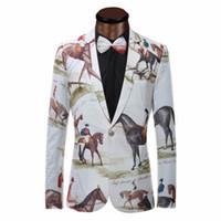 Wholesale Stage Wear Men - Wholesale- Brand New Blazer Men Riding Horse Print Suit Jacket Slim Fit Casual Stage Wear Fashion Mens Blazers Plus Size XS-6XL