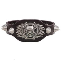 Wholesale Stainless Steel Cowboy Bracelet - Wholesale-New Arrival Wide Leather Bracelet Retro Cuff Rope Cowboy Rider Harley Motor Cycles Punk Skull Rivet Men Bracelets