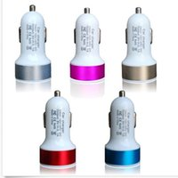 Wholesale multi colors Dual USB Port Car Charger Universal auto power Adapter Dual USB car chargers with best quality colorful car charge