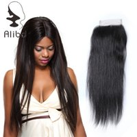 Wholesale Lace Closure Cap - Alibd Top Lace Human Hair Weaves Closure Perfect Match 4*4 Cap Size Silky Straight Lace Closure Nautral Black Shed Free