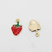 Wholesale Strawberry Necklace Charms - Free Shipping 10pcs lot Zinc Alloy Red&Green Fruit Heart Shape Strawberry Enamel Charm Pendant DIY Necklace Bracelet 12*21mm AP6013