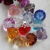 Wholesale Diamond Drops Decorations - Wholesale 100Pcs Acrylic Crystal Faceted Drop Beads Pendants 18*20MM Plastic Diamond Chunky Beads Charms