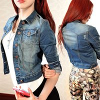 Wholesale denim short jackets wholesale - Wholesale- 2016 Newest Spring Summer Vintage Women Long Sleeve Coat Slim Denim Short Casual Jean Jacket Outerwear H250