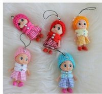 Wholesale Wholesale Small Cloth Dolls - 8cm Baby toys Baby dolls Interactive soft pendant Toys for girls Creative small gifts mini toy + Free Shipping