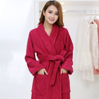 Wholesale Towels Bathrobe For Adult - Cotton gown bathrobe towel material for women in autumn and winter long adult size thickened Hotel bathrobe Home Furnishing