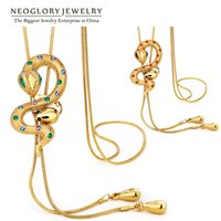 Wholesale Long Swarovski Necklace - MADE WITH SWAROVSKI ELEMENTS Rhinestone Neoglory Gold Plated Adjustable Chain Long Necklaces for Women Animal Snake Fashion Jewelry 2017 New