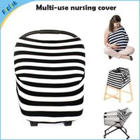 Wholesale Car Seat Covers Black Red - 5pcs lot Azo free multi function knitting stripe fabric nursing cover 4 in 1 uses car seat cover for baby