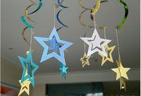 ingrosso decorazioni in camera scintillante-Stelle di carta Ghirlande Bunting Wedding Party Banner Hanging Pull Fiori Doccia Room Door Curtain Decoration Glitter bifacciale KS005