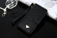 Wholesale High Fashion Iphone Cases - High Quality Luxury Designer Embossed Leather Wallet Flip Case For iPhone 7 7plus 6 6s Plus Fashion With Wallet Credit Card Cover