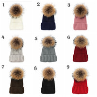 Wholesale Fur Fox - Quality Removable Real Mink Fox Fur Pom Poms Ball Acrylic Beanies Winter Warm Plain Hats Adults Slouchy Mens Womens Snow Warm Hat YYA530