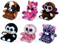 Venda por atacado - New Ty Peek-A-Boos Big Eyed Stuffed Animals Dog Owl Phone Holder Limpador de tela Bottom Kids Plush Toys For Children Gifts 14CM