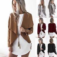Wholesale Long Thin Leather Coat Women - Women Autumn Coats Long Sleeve Synthetic Leather Outerwear irregular Women's Wool & Blends Khaki Grey Black Red 4 Colors