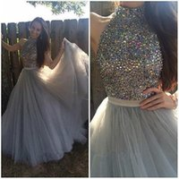 Wholesale Cheap Eveing Gowns - Cheap Grey China Beaded Prom Dresses 2017 High Neck A-Line Tulle Formal Eveing Wear Gowns Vestidos De Formatura