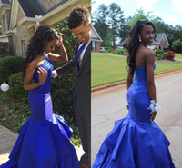 Wholesale Satin One Shoulder Tops - Mermaid Prom Dresses 2017 One Shoulder Sleeveless Backless Sweep Train Satin with Top Applique Royal Blue Evening Dresses