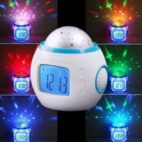 Wholesale christmas ball music - Music Colorful led Starry Star Sky LED Projection Projector Light Alarm Clock White Calendar Thermometer Bed Lazy Digital Alarm Clock