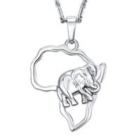 neue mode halsketten für männer großhandel-2017 jahr Neue BRZHA Afrika Elephant Halskette vergoldet Für Mode Trendy Frauen Afrikanische Karte NecklacesPendants Männer Schmuck