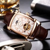 Wholesale Import Case - 2017 New Listing Tourbillon Luxury Mens Watches Imported Mechanical Automatic Movement 316L Stainless Steel Case Moon Phase Luxury Wristwatc