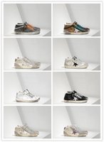 Wholesale Gold Goose - GGDD Gooses Couples Women Super Star Sneakers Shoes Men Scarpe Donna Uomo Mid Star In Pelle All Over Glitter E Stella In Pelle Laminata Blac