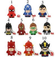 Cartoon 32gb France-Usb Flash Drive Nouveau Pen Drive 32gb Pendrive 16gb 8gb Cartoon Superman Batman Hot Avenger Homme de fer USB 2.0 Memory Stick U disque
