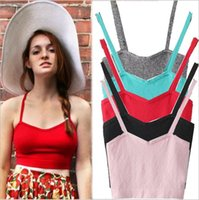 Wholesale Colorful Knitted Vest - Candy Colors Knitted Crop Top Fitness Summer Style Spaghetti Strap Short Vest Slim Colorful Women Cropped Tops Strappy Bralette