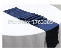 "Wholesale Navy Satin Table Runner - Wholesale-5pcs Navy Blue Satin Table Runner Wedding Party Banquet Table Decoration 12""x 108""(Inch)"