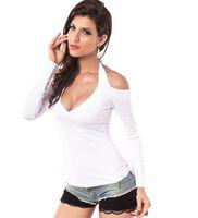 Wholesale Basic T Shirt Women Plain - New Women Girls Sexy Halter V Neck Tunic Long Sleeve Basic Plain Solid T-shirt Blouse Tops