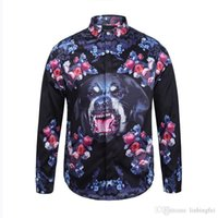 Wholesale Dog Sweat Shirts - New fashion mens shirt Medusa Dog Rose printed shirts Retro floral sweats Men long sleeve shirts tops