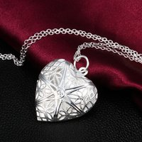 Wholesale Heart Locket Photo Frame Necklace - Hollow Filigree Flower Heart Locket Photo Picture Frame Chain Necklace For Couple Lover Wife Girl Wedding Birthday Gift Silver Plated
