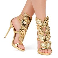 Wholesale Party Golden Sandals - Hot Sale Golden Metal Wings Leaf Strappy Dress Sandal Silver Gold Red Gladiator High Heels Shoes Women Metallic Winged Sandals