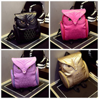 Wholesale children school bags sale for sale - Group buy Women Backpack women fashion Cool Black PU Leather Owl Backpack Female Hot Sale lady shoulder bag children girls school bags