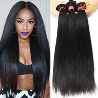 Wholesale Cheap Hair Weave Unprocessed - 8A Peruvian Virgin Straight Hair Cheap Unprocessed Brazilian Human Hair Bundles Factory Indian Malaysian Hair Weaves Extension Double Weft