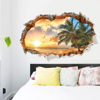 Wholesale beach wall art piece for sale - Group buy Sunshine Beach Tree d Creative Wall Stickers home decoration diy cartoon room wall decal mural art