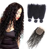 Wholesale Lace Closure Curl Inch - 8A malaysian curly hair with closure jerry curl 3pcs human hair bundles with lace closures malaysian kinky curly weave hair with closure