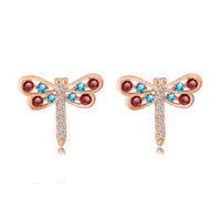 Wholesale Rhinestone Cluster Stud Earrings - 18K Yellow Gold Plated Multicolor White AAA+ Crystal Cluster Cute Dragonfly Stud Earrings Fashion Jewelry Bijoux for Women Girls