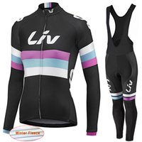Wholesale Women Black Thermal Sets - LIV 2017 New Women Winter thermal fleece Cycling Jersey bike clothing long sleeves cycling shirts+ mtb bicycle Bib Pants set D1113